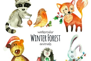 6款彩绘冬季森林动物矢量图