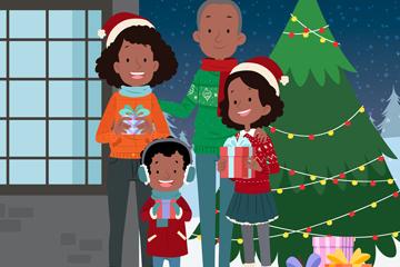 创意圣诞节四口之家矢量图