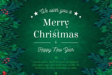 绿色圣诞新年贺卡矢量素材