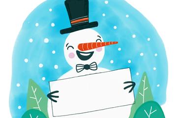 彩绘手拿空白纸板的笑脸雪人矢量图