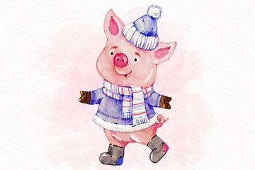 彩绘新年冬装小猪矢量素材