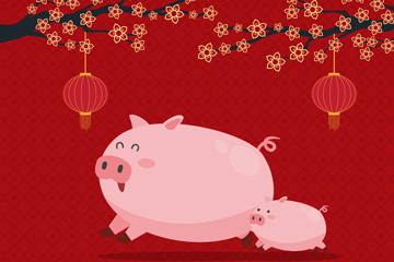 可爱春节粉色猪矢量素材