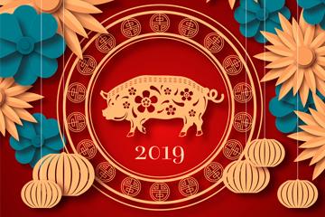 创意2019年猪年贺卡矢量素材