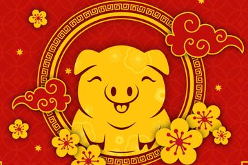 2019年金色猪年贺卡矢量素材