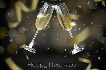 创意2019年新年碰杯香槟酒杯矢量图