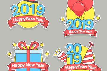 4款创意2019年新年标签矢量图