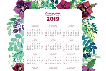 2019年彩绘花卉边框年历矢量图
