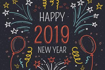 手绘2019年新年贺卡矢量图
