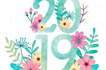 彩绘花卉装饰2019艺术字矢量图