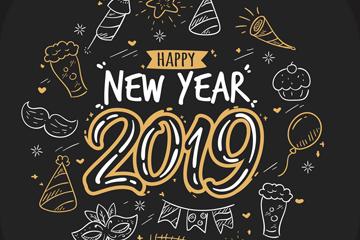 手绘2019新年快乐贺卡矢量图