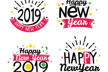 4款彩色2019年新年快乐标签矢量图