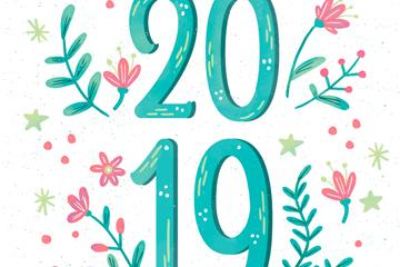 彩绘花卉2019年艺术字矢量图