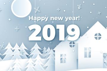 2019年白色新年房屋和树林剪贴画矢量图