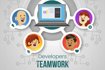 创意开发者团队人物头像矢量素材