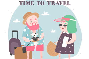 创意旅行男子和女子矢量素材