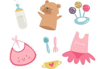 8款彩绘婴儿用品设计矢量素材