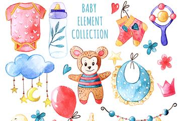 13款水彩绘婴儿用品矢量素材