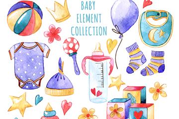 14款彩绘婴儿用品设计矢量图