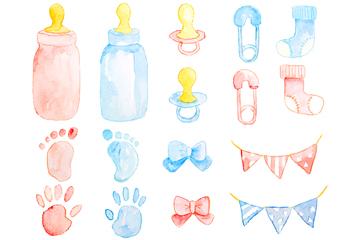 16款水彩绘粉色和蓝色婴儿元素矢量图