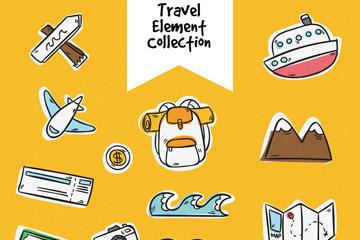 16款手绘旅行元素设计矢量图
