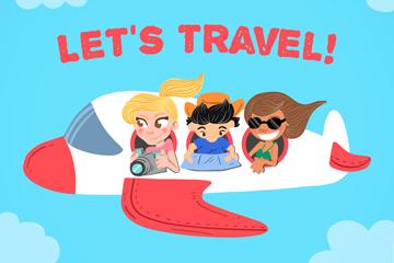 创意坐飞机旅行的3个人物矢量图