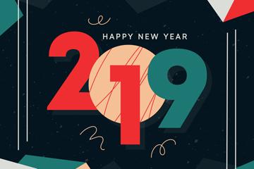 复古彩色2019年艺术字矢量素材