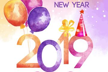 水彩绘2019年气球艺术字矢量素材