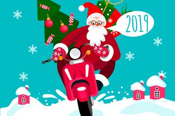 创意新年骑摩托车的圣诞老人矢量图
