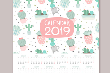 彩绘2019年多肉植物年历矢量图