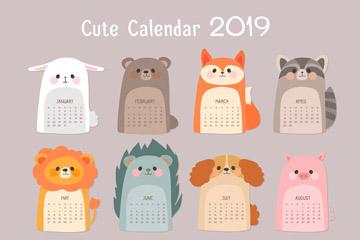 可爱2019年动物年历设计矢量图
