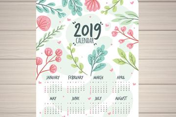 2019年彩绘花卉和树叶年历矢量素