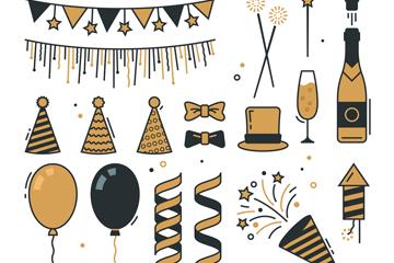 20款创意新年派对元素矢量图