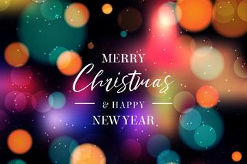 彩色光晕圣诞新年贺卡矢量素材