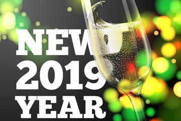 2019年彩色光晕新年派对贺卡矢量素材