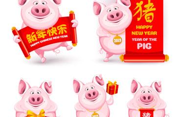 6款卡通猪设计矢量素材