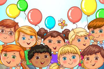 彩色气球和儿童框架矢量素材