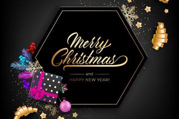 时尚黑色圣诞新年贺卡矢量素材