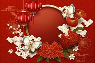 红色纸质灯笼和蝴蝶贺卡矢量素材