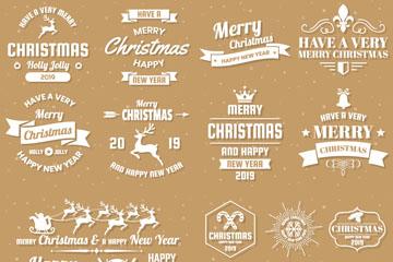22款白色圣诞新年标志矢量素材