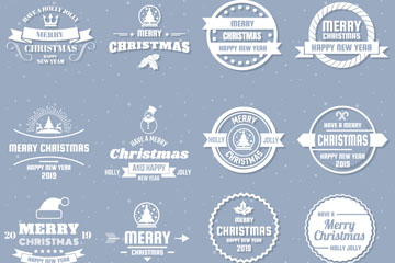 16款白色2019年圣诞新年标志矢量