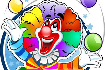 卡通玩球的小丑设计矢量素材