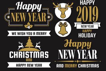 5款创意新年圣诞标签矢量素材