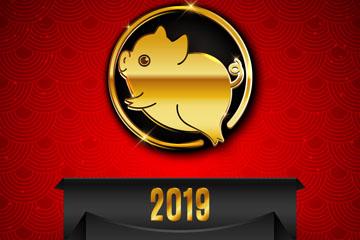 2019年可爱金猪贺卡矢量素材