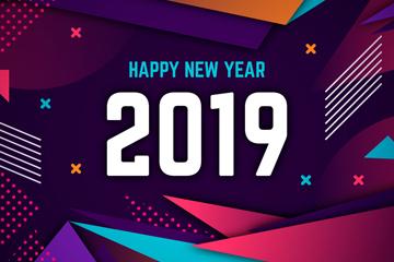 抽象2019年新年贺卡矢量素材