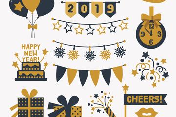 13款金色和黑色新年元素矢量图