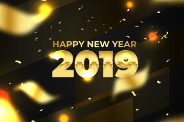 2019年金色丝带新年贺卡矢量图