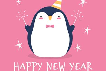 可爱新年玩烟花的企鹅矢量图