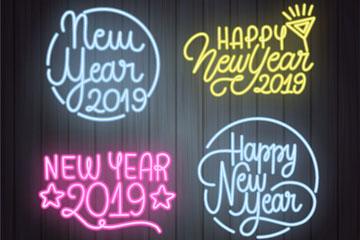 4款彩色霓虹灯新年艺术字矢量图