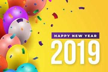 2019年彩色气球新年贺卡矢量素材