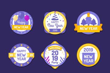 9款2019年紫色新年标签矢量素材